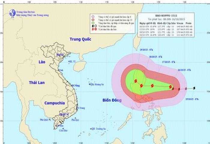Xuất hiện siêu bão Koppu ngoài biển Đông