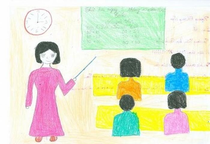 Lúc ở nhà vợ cũng là… cô giáo