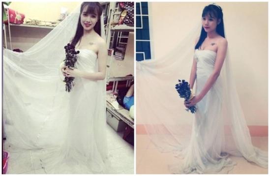 Nữ sinh dùng màn tuyn làm váy cưới khiến dân mạng phát cuồng